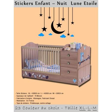 Stickers Chambre Enfant Nuit Lune Etoile Décoration Maison
