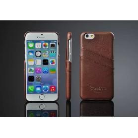 """Housse Etui Cuir Véritable Litchi Motif Brun Pour iPhone 6 4.7"""" pouces"""