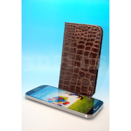 Etui Portefeuille Crocodile Motif Brun Samsung Galaxy S4 i9505
