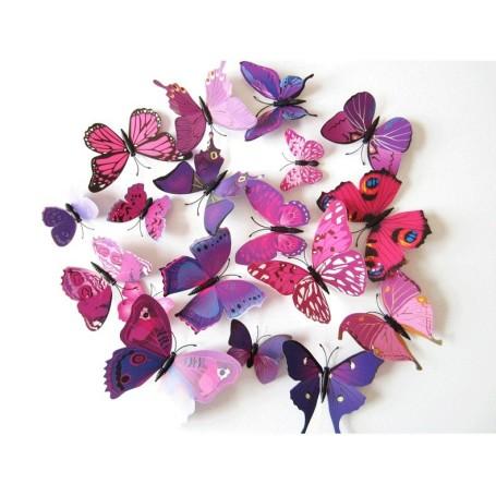 12 Pièces 3D Stickers Papillon Violet Coloré Décoration Maison Butterfly 3d