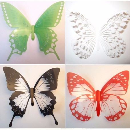 12 Pièces 3D Stickers Papillon Paillette Strass Design Décoration Maison Butterfly 3d