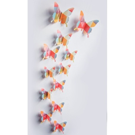 12 Pièces 3D Stickers Papillon Prismatique Design Décoration Maison Butterfly 3d