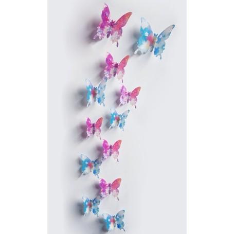 12 Pièces 3D Stickers Papillon Violet Coloré 2 Décoration Maison Butterfly 3d