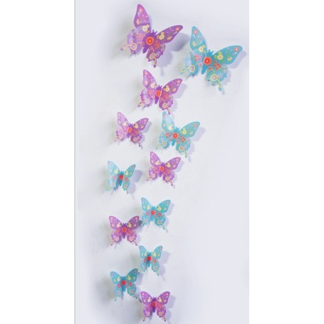 12 Pièces 3D Stickers Papillon Rosé Colore Décoration Maison Butterfly 3d