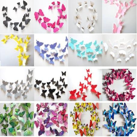 12 Pièces 3D Stickers Papillon 20 Couleur Décoration Maison