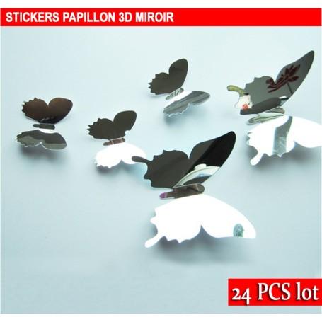 24 Pièces 3D Stickers Papillon Miroir Décoration Maison Butterfly 3d