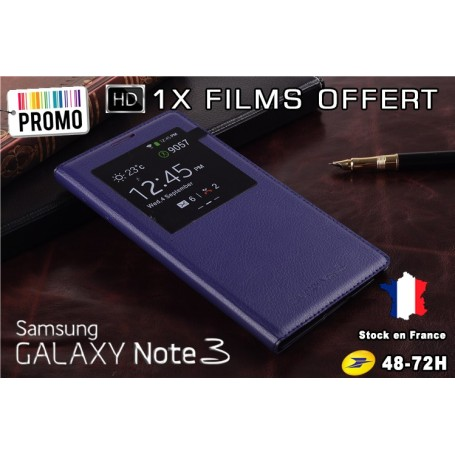 Etui S-View Cover Galaxy Note 3 Bleu Nuit Film Offert PROMO