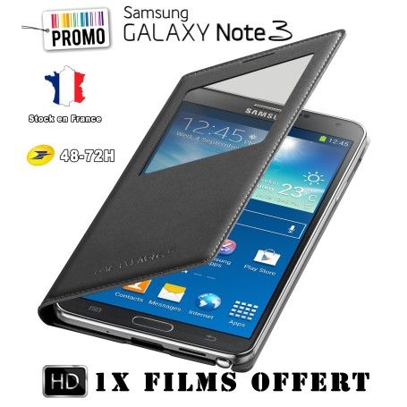 Etui S-View Cover Galaxy Note 3 Noir Film Offert PROMO