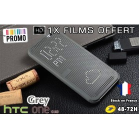 Housse Etui Gris Motif Point Dot View HTC M8 One 2 - 1x film offert