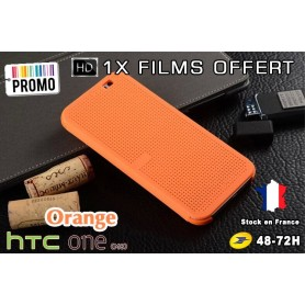 Housse Etui Orange Motif Point Dot View HTC M8 One 2 - 1x film offert