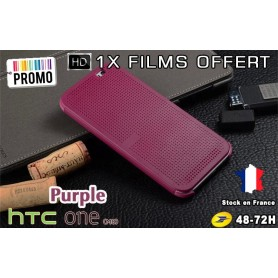 Housse Etui Violet Motif Point Dot View HTC M8 One 2 - 1x film offert