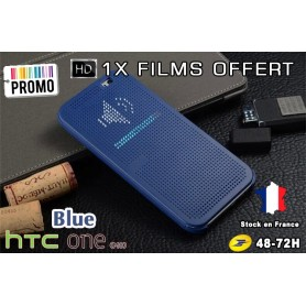 Housse Etui Bleu Motif Point Dot View HTC M8 One 2 - 1x film offert