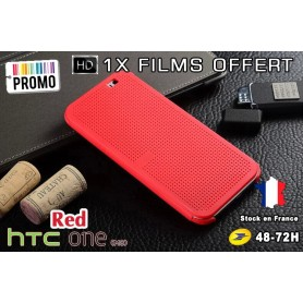 Housse Etui Rouge Motif Point Dot View HTC M8 One 2 - 1x film offert