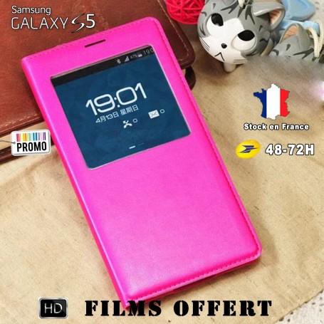 Etui S-view Fuchsia Samsung Galaxy S5 SM-G900F 1x film offert
