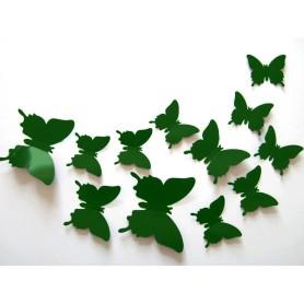 12 Pièces 3D Stickers Papillon Vert Olive Décoration Maison Butterfly 3d