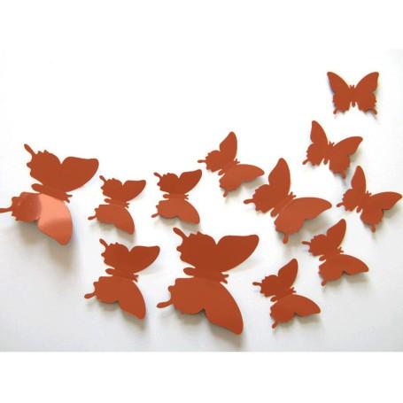 12 Pièces 3D Stickers Papillon Orange Pastel Décoration Maison Butterfly 3d
