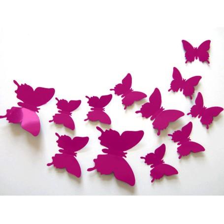 12 Pièces 3D Stickers Papillon Fuchsia Décoration Maison Butterfly 3d