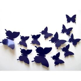 12 Pièces 3D Stickers Papillon Bleu Décoration Maison Butterfly 3d