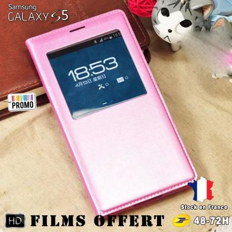 Etui S-view Rosé Samsung Galaxy S5 SM-G900F 1x film offert
