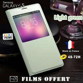 Etui S-view Vert Eau Samsung Galaxy S5 SM-G900F 1x film offert
