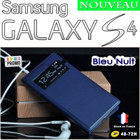 Bleu Nuit Etui S-View Cover Samsung Galaxy S4 i9505 Film HD Offert