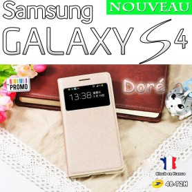 Doré Etui S-View Cover Samsung Galaxy S4 i9505 Film HD Offert