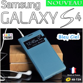 Bleu Ciel Etui S-View Cover Samsung Galaxy S4 i9505 Film HD Offert