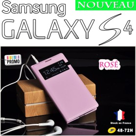 Rosé Etui S-View Cover Samsung Galaxy S4 i9505 Film HD Offert
