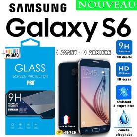 2X Film Trempe Avant et Arriéré Samsung Galaxy S6 2.5D 9h HD Port 48-72h
