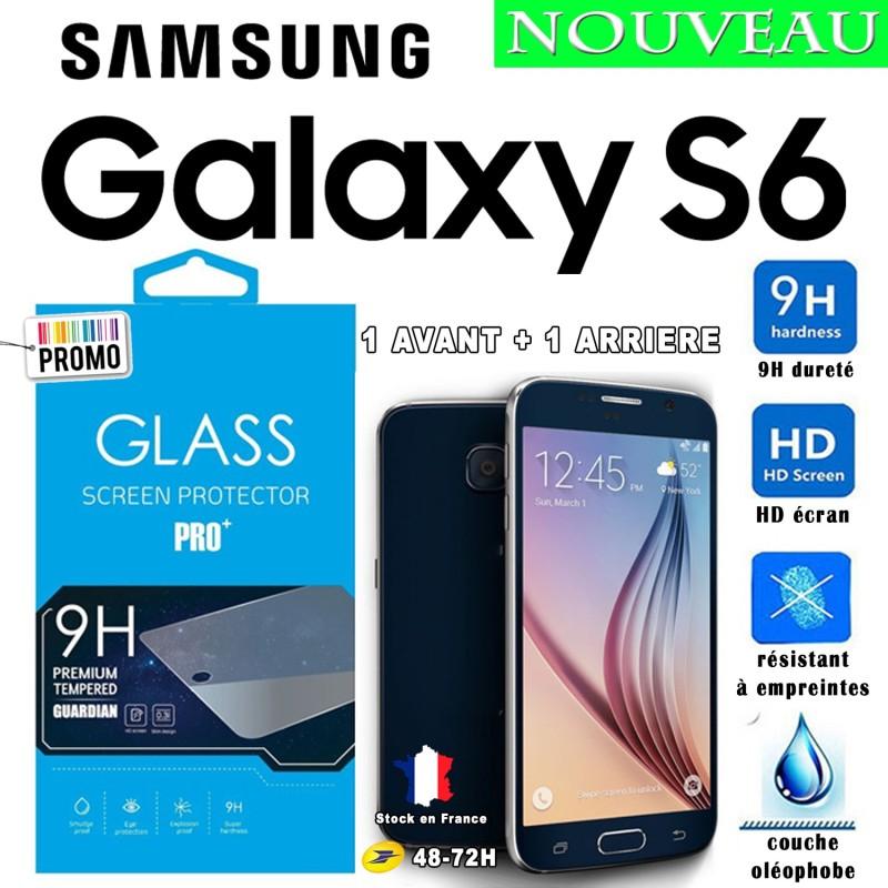 Film Trempe Avant et Arriéré Samsung Galaxy S6 2.5D 9h HD Port 48-72h