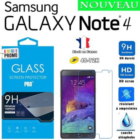 Lot 2X Film Trempe Samsung Galaxy Note 4 - 2.5D 9h HD SM-910F Port 48-72h