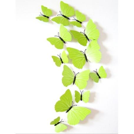 12 Pièces 3D Stickers Papillon Vert Type 2 Décoration Maison Butterfly 3d