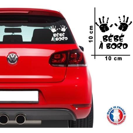 "Stickers ""Bébé à bord 08"" 10x10 cm Blanc Promo"
