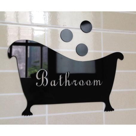 Noir - 3D Stickers Acrylique Salle de bains Baignoire Panneau d'entrée Miroir Décorations