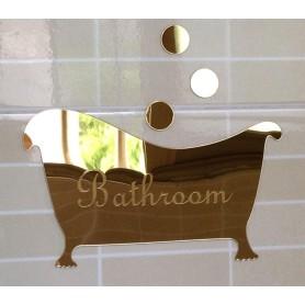 Argent - 3D Stickers Acrylique Salle de bains Panneau d'entrée Miroir Décorations