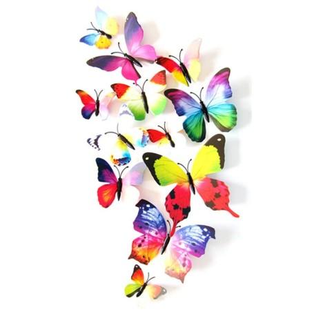 12 Pièces 3D Stickers Papillon Arc En Ciel Décoration Maison Butterfly 3d