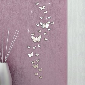 30 Pièces 3D Stickers Papillon Acrylique Miroir Décoration Maison Butterfly 3d