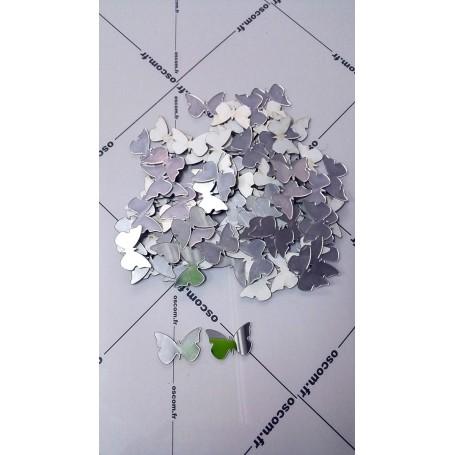 Argent 100 Pièces 3x2 cm 3D Stickers Papillon Acrylique Décoration Maison 3d
