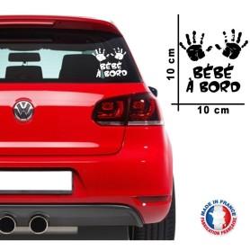 """Stickers """"Bébé à bord 08"""" 10x10 cm Couleur NOIR Promo Fabrique en France"""