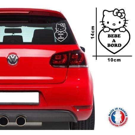 """Stickers Bébé à bord """"Hello Kitty 01"""" 14x10 cm Couleur Noir Promo Fabrique en France"""