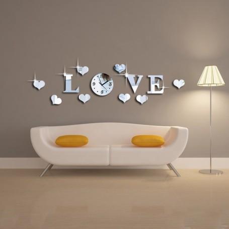 Sticker 3D Créative Effet Love Horloge Couleur Argent Miroir acrylique Décoration de Maison
