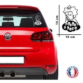 "Stickers ""Bébé à bord 5"" 14x10 cm Blanc Promo"