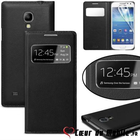 Flip Book Housse Etui S View Cover Samsung Galaxy S4 Mini Noir