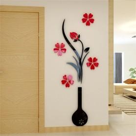 Stickers 3d Cristal Acrylique Vase 80x40 cm Décorations Mural Maison Qualité