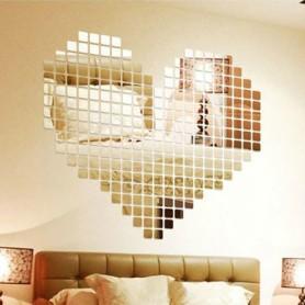 Stickers 3D Acrylique Miroir 2x2 cm Autocollant Décorations Mural 300 pièces