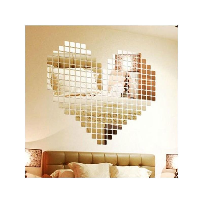 Stickers 3D Acrylique Miroir 2x2 cm Autocollant Décorations Mural 1000 pièces