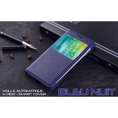 Housse Etui Flip S view Bleu Nuit Samsung Galaxy A5 Veille Auto Smart Case Cover