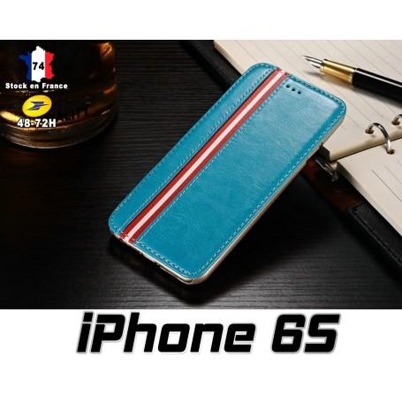 iPhone 6S Housse Etui Simili Bleu Film Trempe Renforce 9H Offert