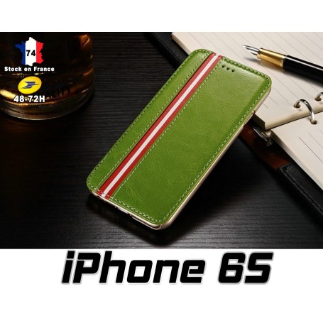 iPhone 6S, Housse, Etui, Simili, Cuir, vert, Stand, Option, Top, Qualité