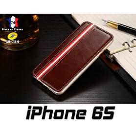 iPhone 6S Housse Etui Simili Cuir Brun Stand Option
